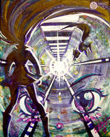 El Tunel - Collage and Acrylics on Canvas by Mako-Fufu