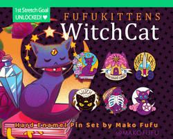 Fufukittens Witch Cat Enamel Pins live on KS
