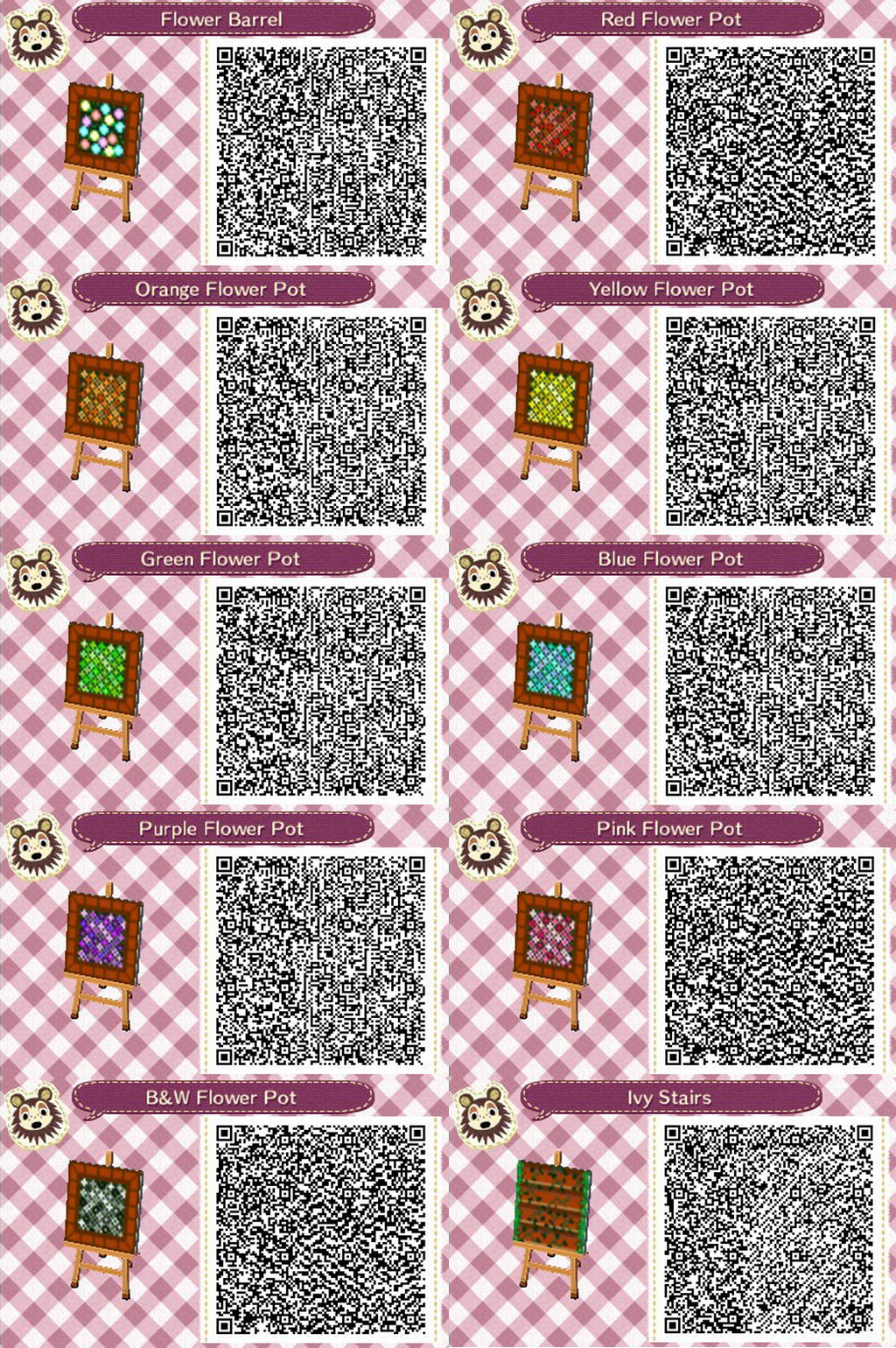 Acnl Flower And Stairs Qr Codes By Acnl Qr Codez On