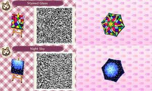 ACNL- Stain Glass and Night Sky Umbella QR Codes