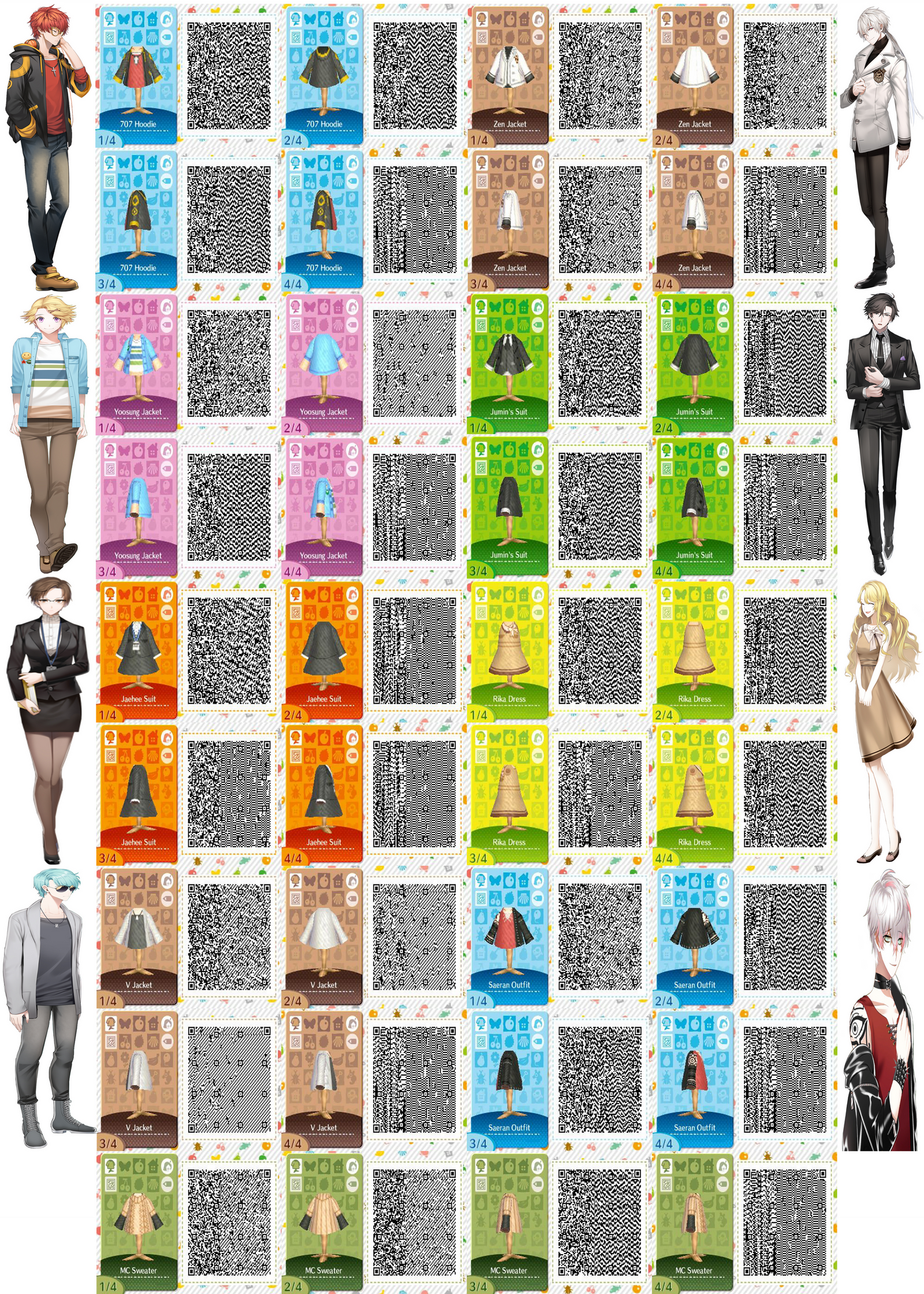 Mystic Messenger Character Outfit QR Codes by ACNL-QR-CODEZ on ... on happy home blog, happy home designer art, happy home designer apps,
