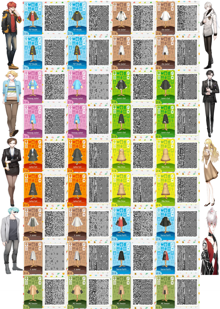 Mystic Messenger Character Outfit QR Codes by ACNL-QR-CODEZ on ... on happy home designer art, happy home blog, happy home designer apps,
