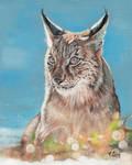 Oil painting lynx portrait