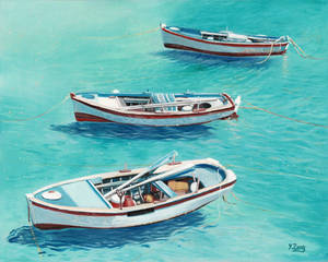 Oil painting - 3 boats