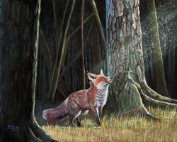 Oil painting - Red fox in forest