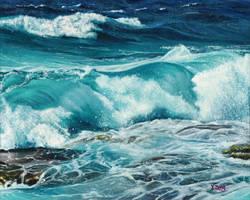 Oil Painting - Ocean wave by PeachtreeDandan