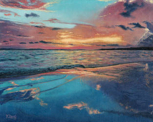 Oil Painting-Sunset at sea by PeachtreeDandan
