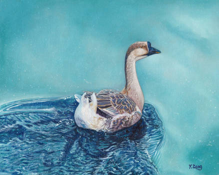 Oil Painting - Swimming goose