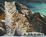 Oil painting-Mountain spirit Snow leopard