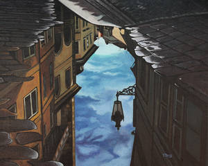 Oil painting - Reflection of lantern