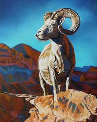 Oil painting - Ram/Bighorn sheep