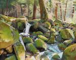 Oil painting - Creek rocks