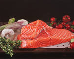Oil painting - Raw salmon still life