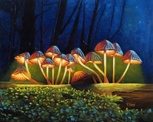 Oil painting - Nightlight glowing mushroom