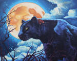 Oil painting - Night watcher black panther