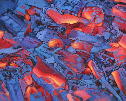 Oil painting - Hot blue coal
