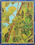 Oil paining - Stained glass grapes experiment
