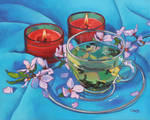 Oil painting - Tea and candles
