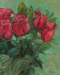 Oil painting - Red roses