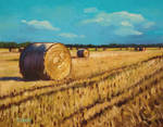 Oil painting - Rolled up dry straw in field