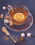 Oil painting - Lemon tea and sugar 11X14