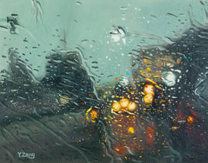 Oil painting - Rainy street with lights