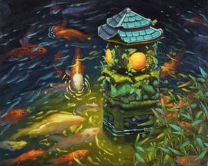 Oil painting - Stone lantern with koi fishes
