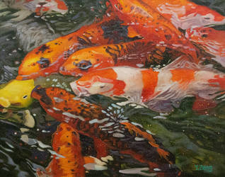 Oil painting - Koi fishes in water
