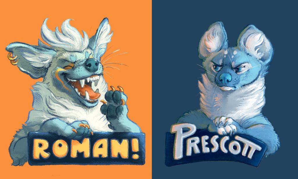 Badges: Roman and Prescott by Rowkey