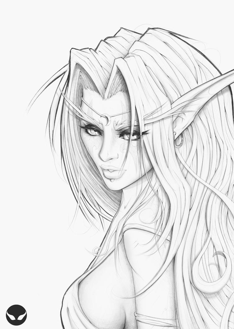 Tyrande Lineart by SpiritHide