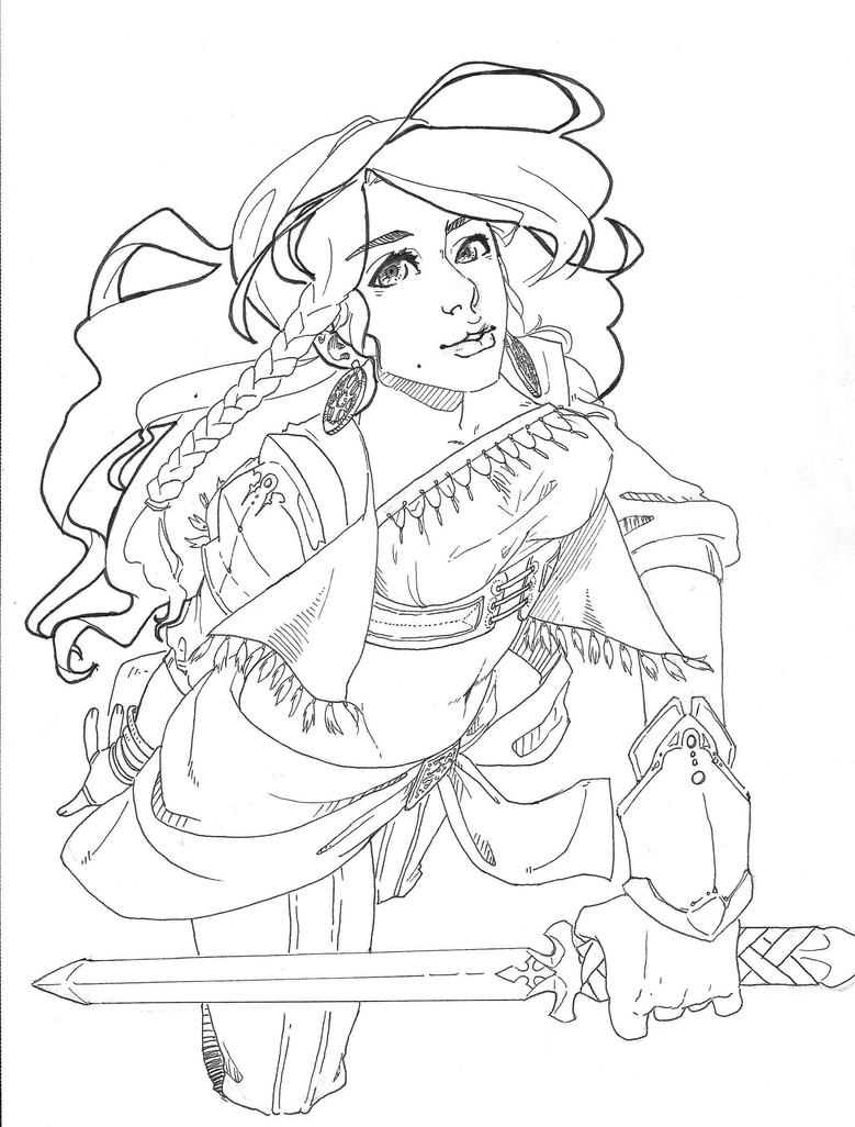 gypsy coloring pages | Gypsy knight -lineart- by Fang-fey on DeviantArt