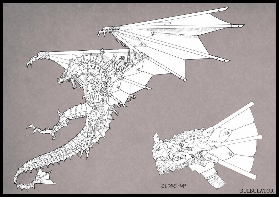 Mechanical/Steampunk/Golem (yeah...) Dragon by Lamb-Charmer
