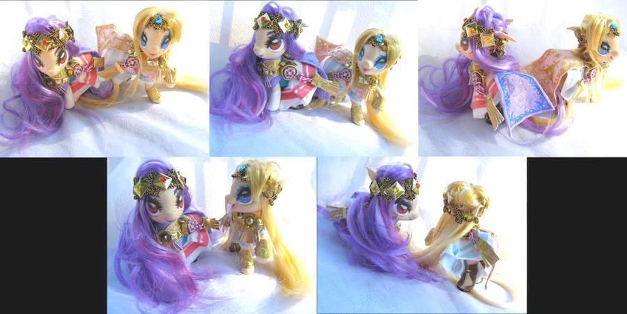 Link Between Worlds Hilda and Zelda custom ponies by LightningSilver-Mana