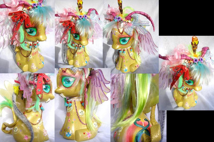 Golden Rainbow Baphomet 13 inches tall by LightningMana-Crafts