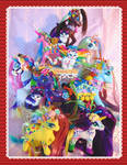 Set of 11 Lisa Frank inspired horses and cats by LightningMana-Crafts