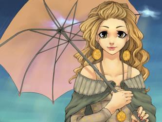 Orange umbrella by MayeMaya