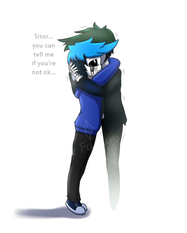 [OC Fan Art] A hug by FukuroMami555