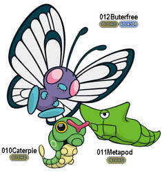 010Caterpie, 011Metapod y 012Butterfree