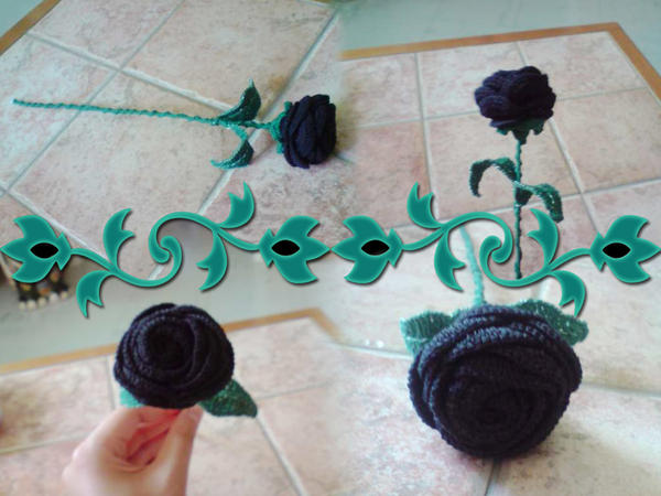 Crochet - Black Rose by MissDwidwi