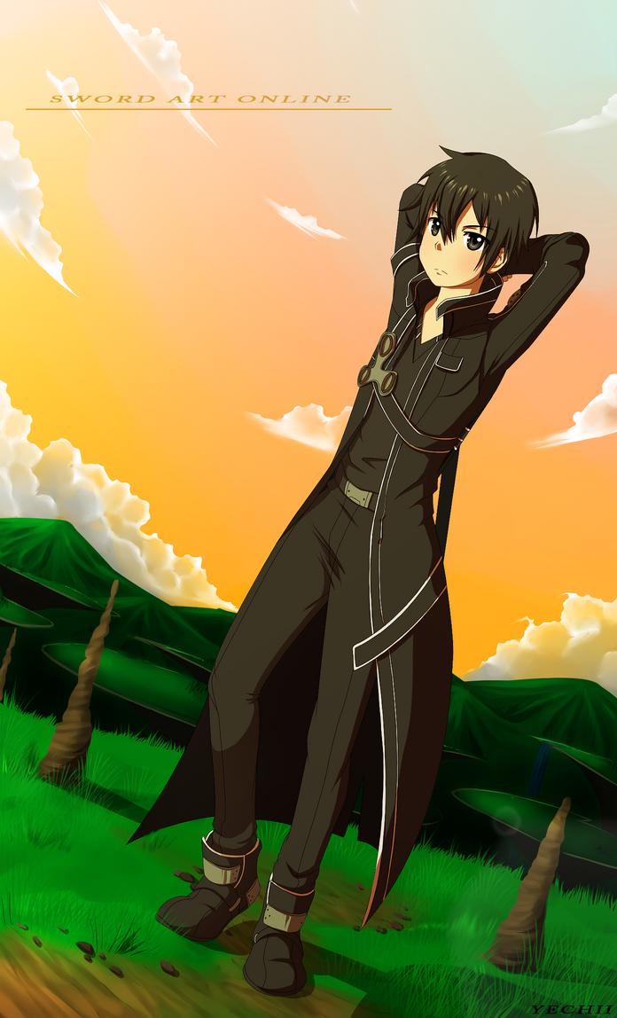 Sword art online, Kirito+speedpaint by Yechii