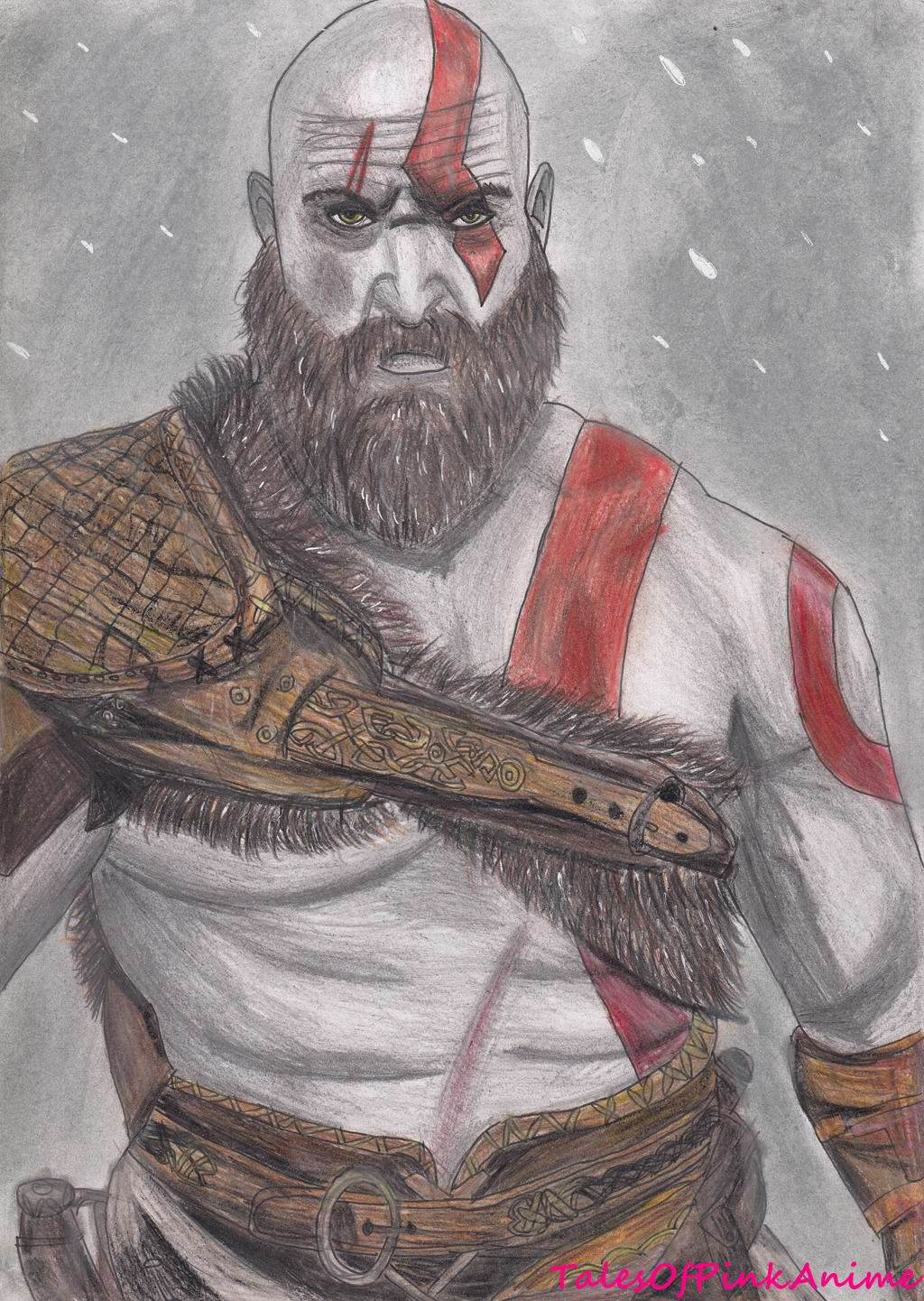 Speed Drawing New God Of War 4 Kratos By Talesofpinkanime