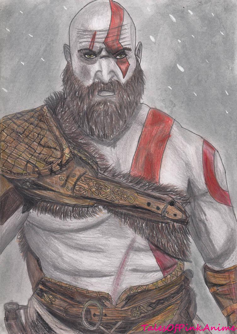 Speed Drawing New God Of War 4 Kratos By Talesofpinkanime