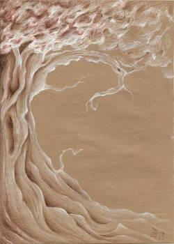 Tree sketch in craf paper