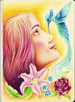 Girl and Hummingbird