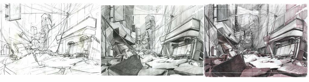 Concept art de BG - Ciudad destruida en 3 paso