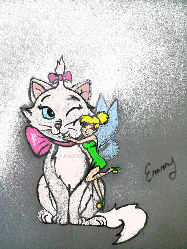 Marie and Tinkerbell coloured by Emmy1891