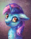 Blue unicorn lady (Commission) by Drawirm