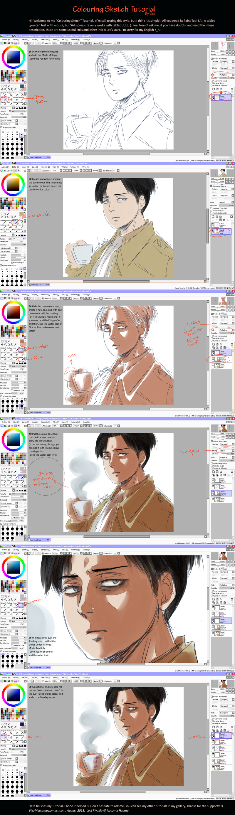 SAI. Colouring Sketch - Tutorial - Levi by AkariMarco