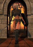 Warrior in the Doorway by Bad-Dragon