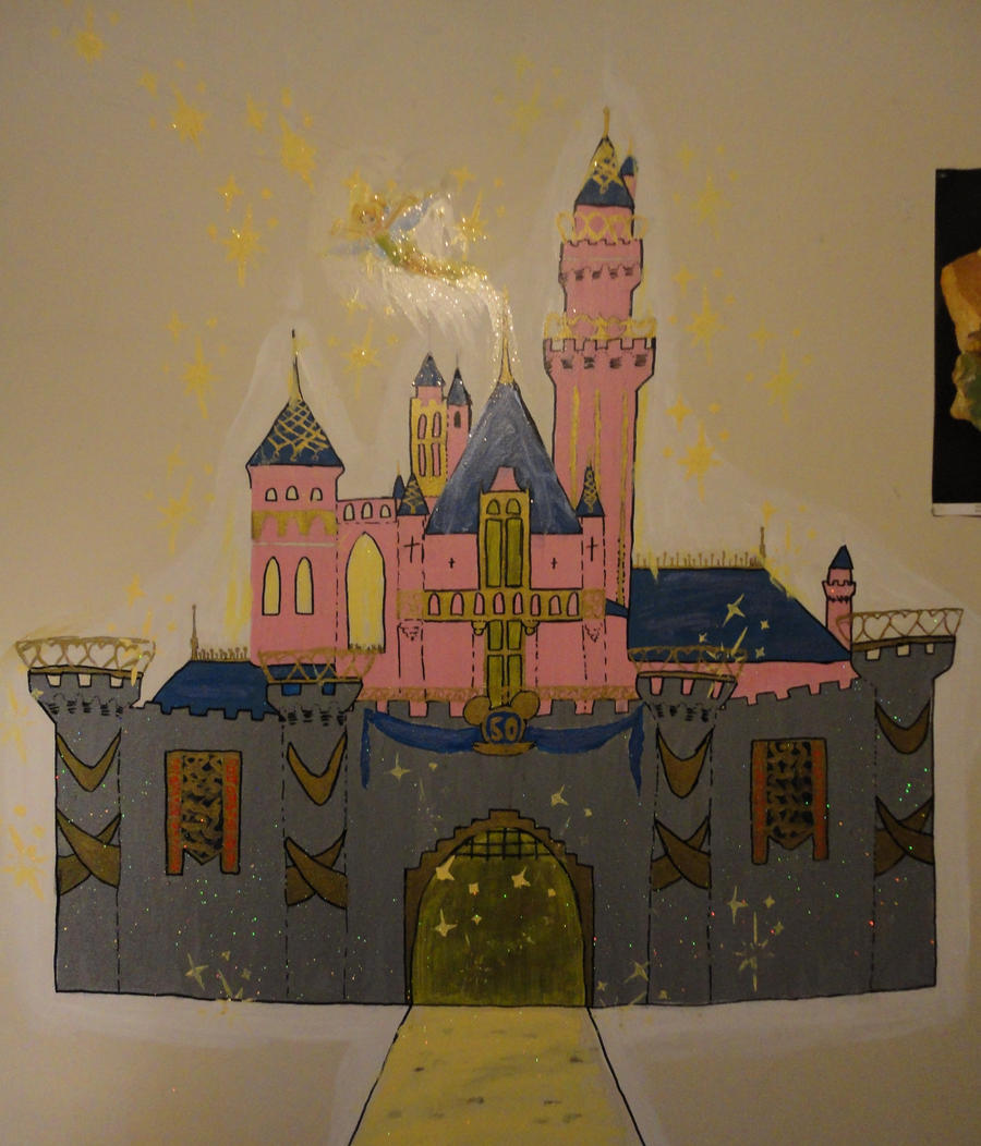 Disneyland castle mural by swisskapolka on deviantart for Disneyland mural